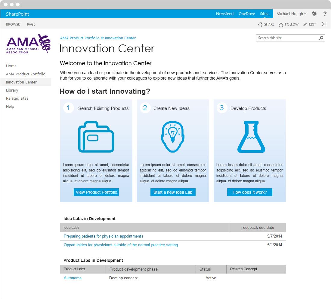 Innovation Center Landing Page