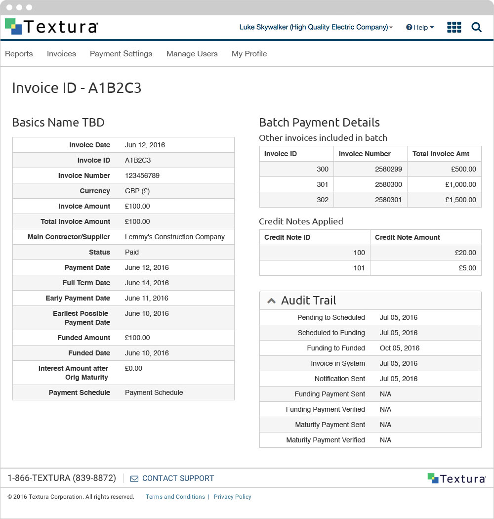 Textura - Invoice Details