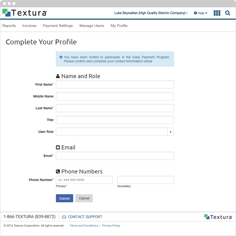 Textura - Complete Your Profile