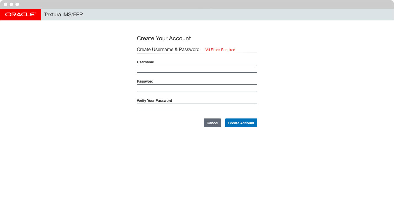 Oracle - Create Your Account