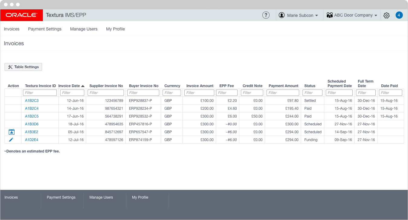 Oracle - Invoices Table