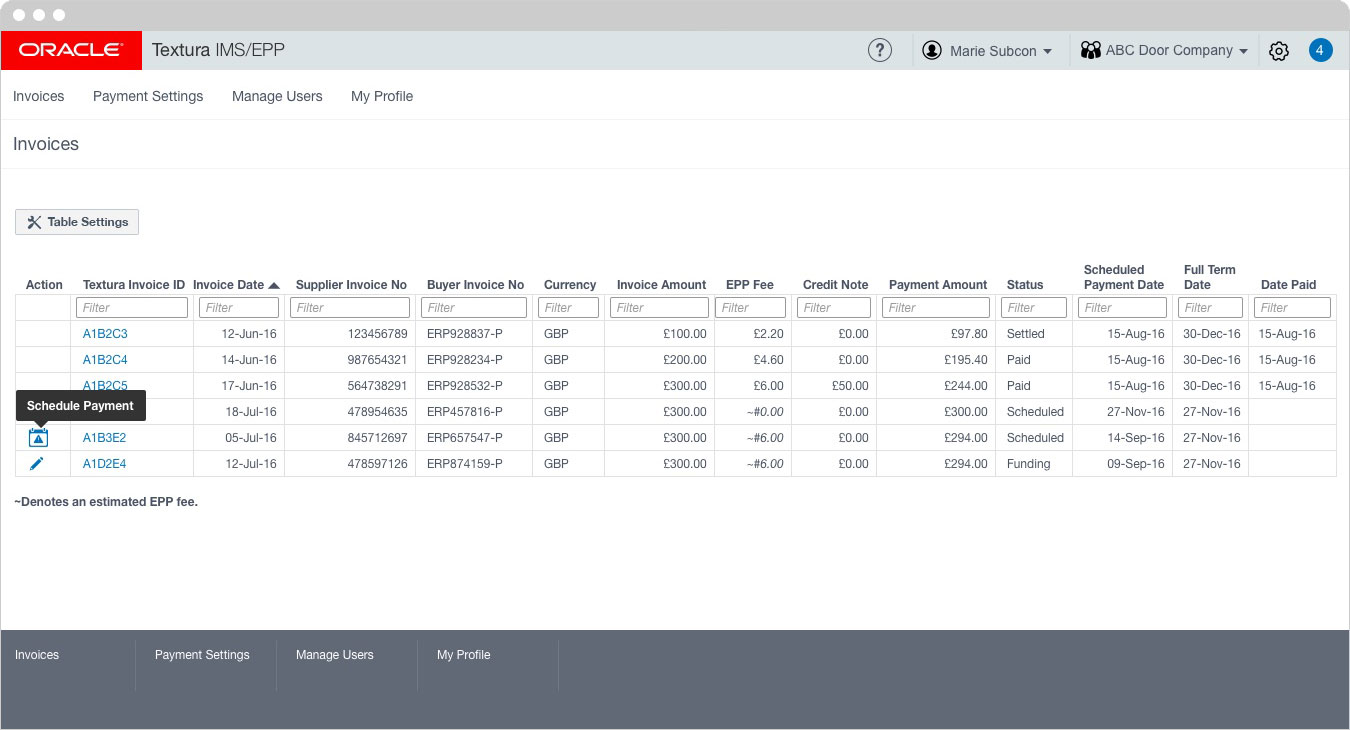 Oracle - Invoice Table Tool tip 1
