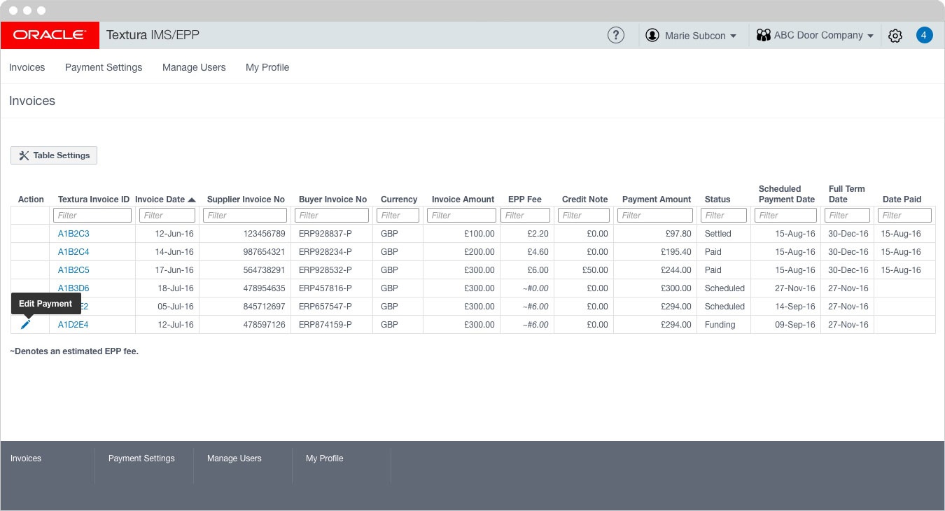 Oracle - Invoice Table Tool tip 2