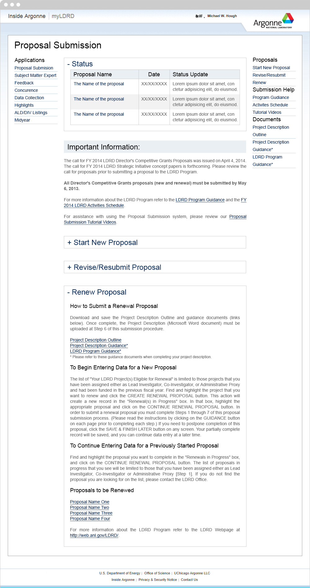 Proposal Submission Renew