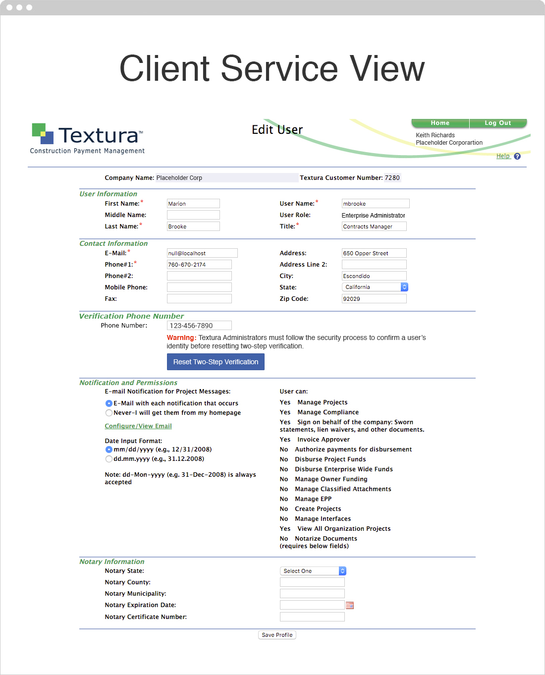 Lost Phone Client Services View