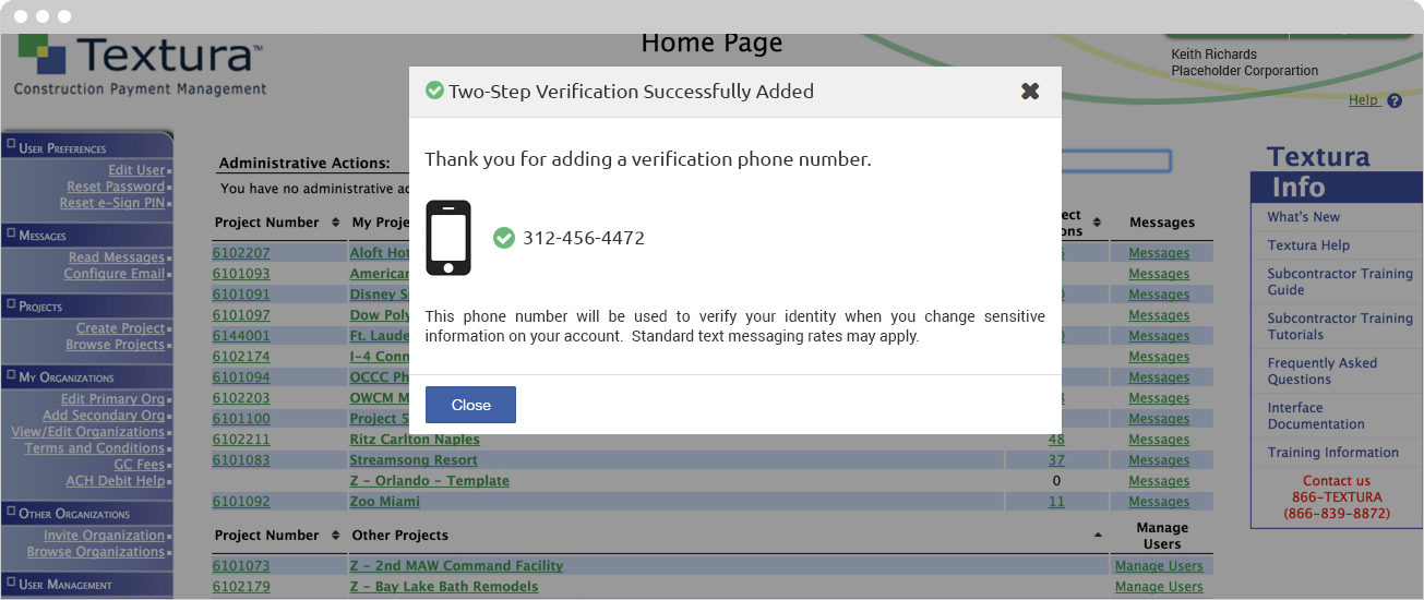 Two-Step Verification Successfully Added