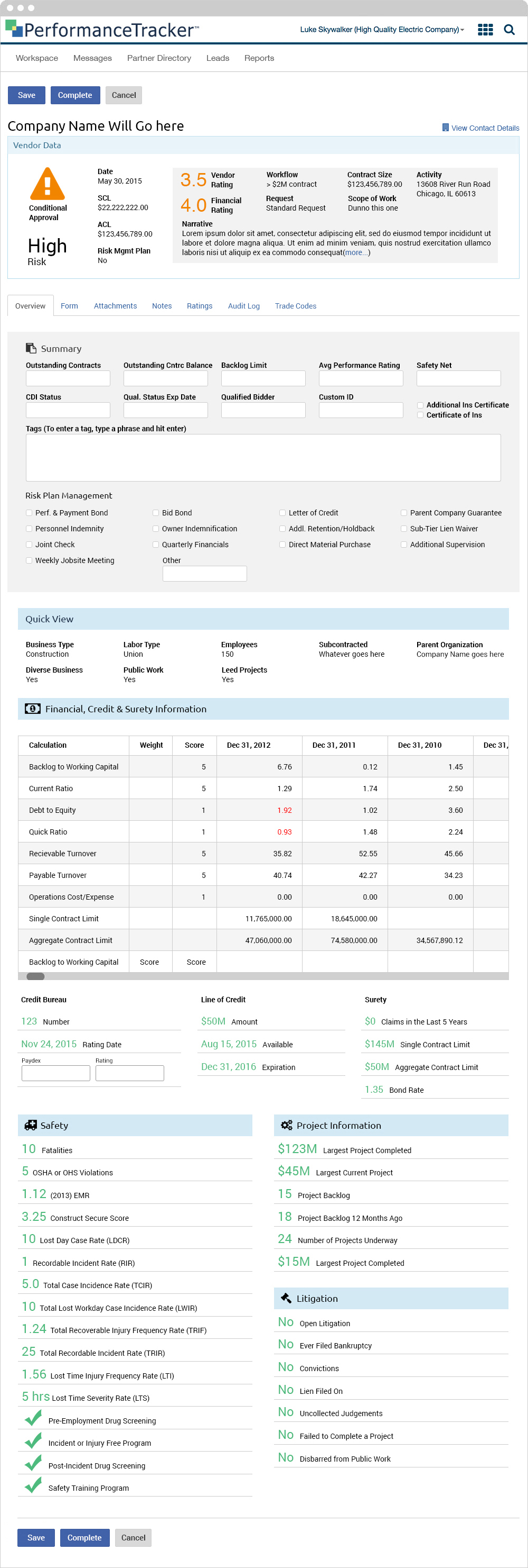 Vendor Dashboard - Overview