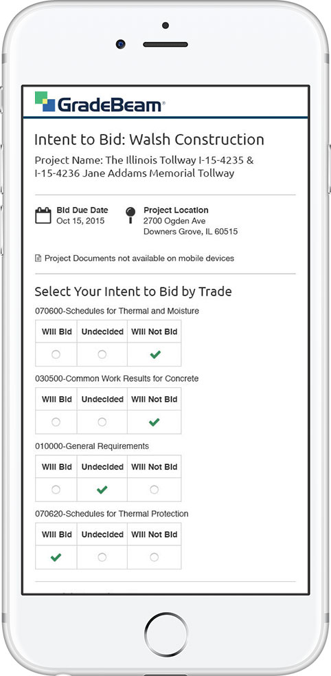 Bid Selection - Phone View